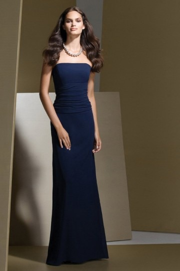 Dressesmall Ruching Strapless Satin Column Bridesmaid Dress