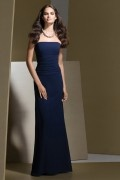 Ruched Strapless Chiffon Long Dark Royal Blue Column Bridesmaid Dress