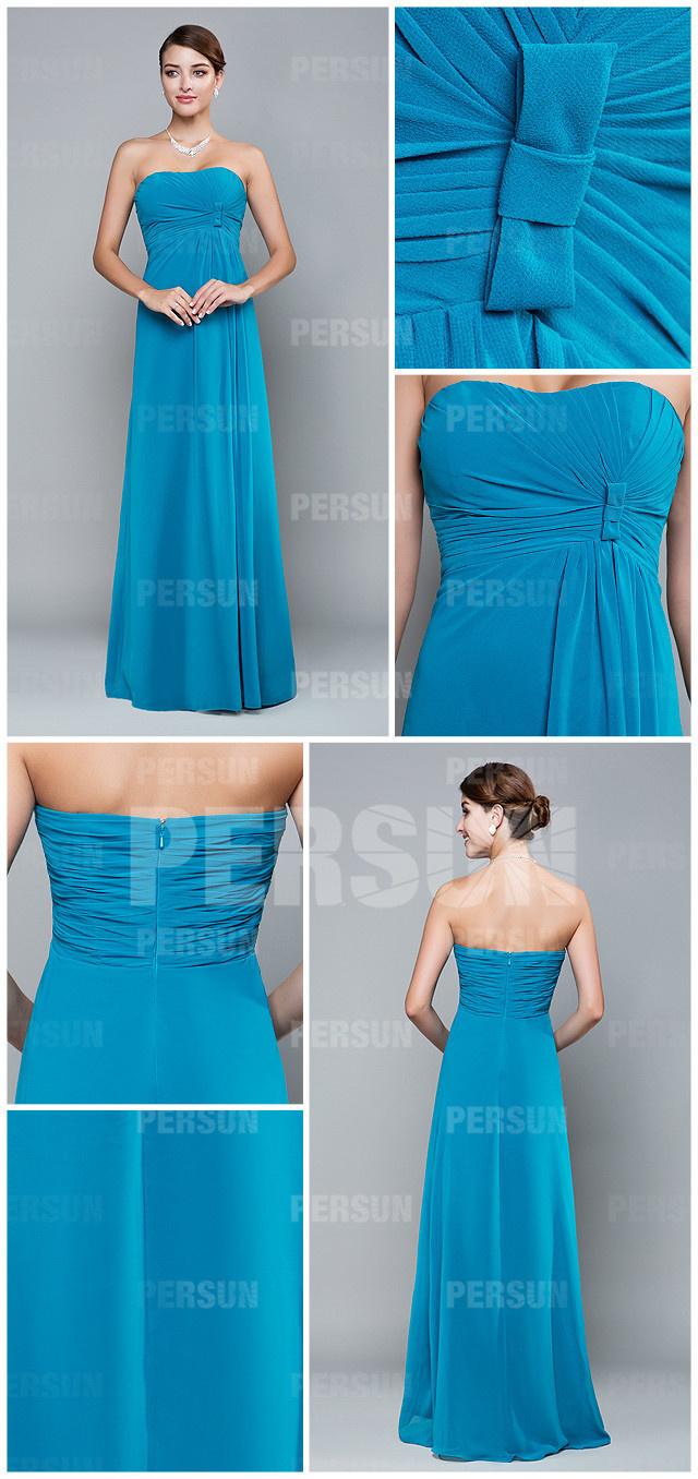 simple blue long chiffon a line bridesmaid dress