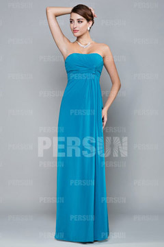 Pleats Ruching Strapless Chiffon A line Formal Bridesmaid Dress