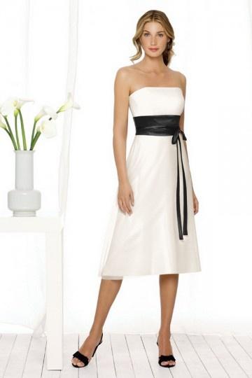 Dressesmall Ribbon Strapless A line Tea length Formal Bridesmaid Dress bicolour