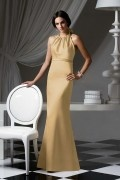 Ribbon High Around Neck Satin Mermaid Formal Bridesmaid Dress