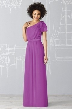 Woburn Chiffon One Shoulder Ruffle Sleeve A line Bridesmaid Dress