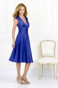 Ruching V neck Tea length Blue Formal Bridesmaid Dress in Elastic satin