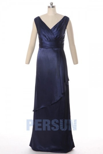 Dressesmall Chic Column V neck Silk Satin Long Formal Dress