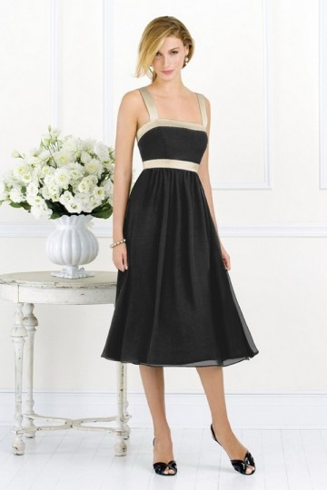 Dressesmall Vintage Black Taffeta Tea length Formal Bridesmaid gown with color blocked straps & ribbon