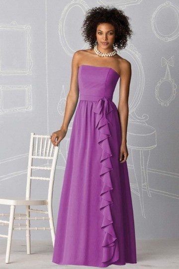Ruffles Strapless Chiffon A line Long Bridesmaid Dress