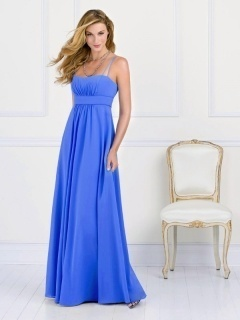 Woolwich Taffeta Spaghetti Straps Pleats Empire Blue Bridesmaid Gown