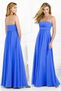 Elegantes Empire A-Linie Chiffon blaues Brautjungfernkleider