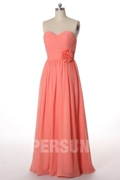 Wrap Pleats Sweetheart Chiffon A line Formal Bridesmaid Dress