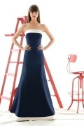 Simple Ribbon Strapless Satin Trumpet Formal Bridesmaid Dress