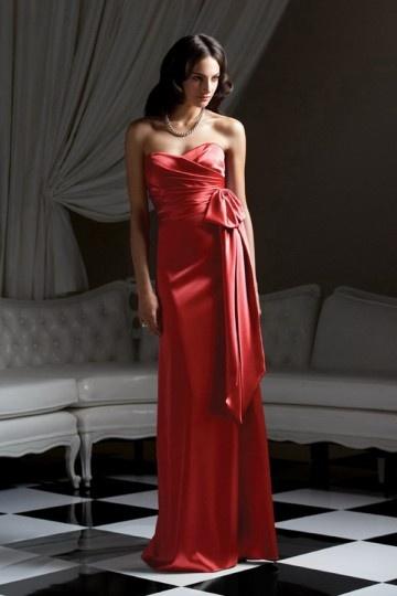 Ruffles Bow  Sweetheart Satin A line Bridesmaid Dress