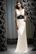 Belt V neck Satin White Column Formal Bridesmaid Dress