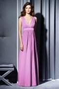 Ribbon V neck Chiffon A line Long Bridesmaid Dress