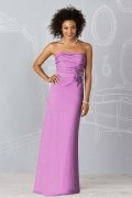 Applique Strapless Taffeta Column Formal Bridesmaid Dress
