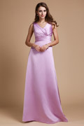 Ribbon Wrap V neck Satin Long A line Bridesmaid Dress