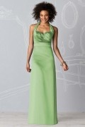 Ruching Halter Satin Green A line Formal Bridesmaid Dress
