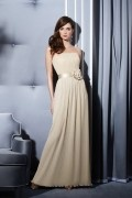Ruffles Applique Pleats Strapless Chiffon Bridesmaid Dress