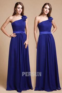 Pleats Appliques One Shoulder Chiffon Blue A line Formal Bridesmaid Dress