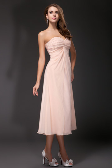 Dressesmall Sweetheart Tea length Bridesmaid Dress in pale pink chiffon
