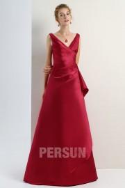 Vestido de dama de honra linha-A pregueado vermelho decote em V longo elegante Vestido longo em cetim