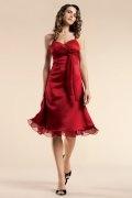 Vestido de Dama de Honor Hasta la Rodilla de Satén rojo con Tirantes Espaguetis Escote Corazón Volante Imperio