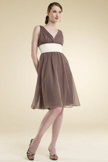 V-neck Ruching Belt Pleats Short Chiffon Bridesmaid Dress