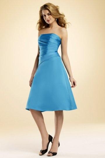 Vestido de madrinha plissado azul linha-A Sem alça longos joelhos