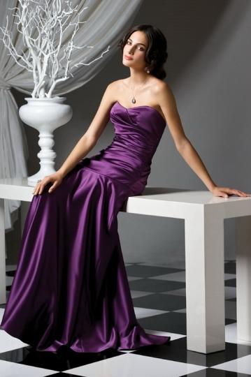 Ruching Pleats Sweetheart Satin Purple A line Bridesmaid Dress Dressesmall