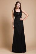 Column V neck Beaded Black Chiffon Bridesmaid Dress