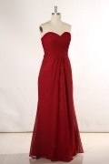 Ruching Sweetheart Chiffon Column Bridesmaid Dress