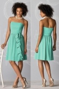 Ruffles Strapless Chiffon Mint Knee Length Formal Bridesmaid Dress