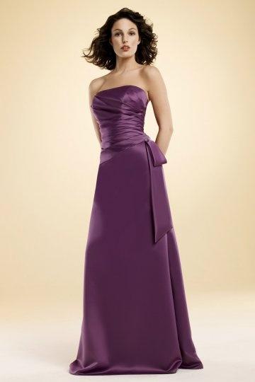 Ruching Strapless Satin Purple Long Bridesmaid Dress