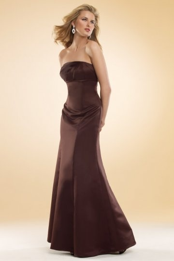 Dressesmall Simple Strapless Satin Brown Mermaid Formal Bridesmaid Dress