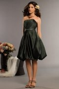 Pleats Belt Strapless Satin A line Bridesmaid Dress
