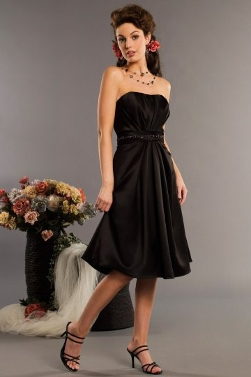 Belt Strapless Satin Black Knee Length Bridesmaid Dress Dressesmall
