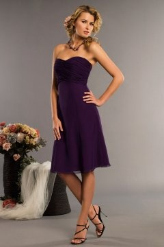 Heanor Chiffon Sweetheart Ruching Purple Knee Length Bridesmaid Gown