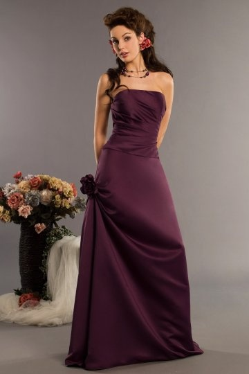 Hand Made Flower Strapless Satin Long Bridesmaid Dress