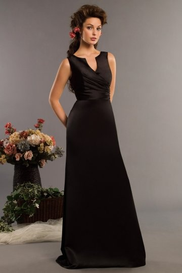 Dressesmall HandMade Flower V neck Satin Black Long Formal Bridesmaid Dress