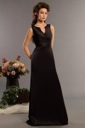 HandMade Flower V neck Satin Black Long Formal Bridesmaid Dress