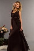 Straps Coffee Sash Long Chiffon Bridesmaid Dress