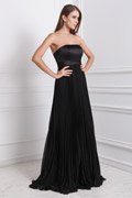 A line Strapless Ruched Floor Length Bridesmaid Dress