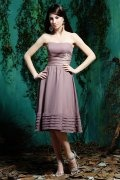 Belt Strapless Chiffon Knee Length Formal Bridesmaid Dress