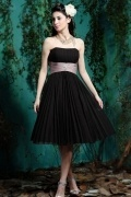Belt Beaded Pleats Strapless Chiffon Short Formal Bridesmaid Dress