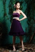 Belt Pleats Tiers Strapless Satin Purple Formal Bridesmaid Dress