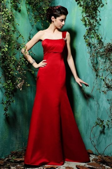 Dressesmall Beaded One Shoulder Satin Red Mermaid Formal Bridesmaid Dress
