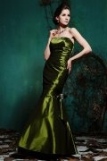 Ruching Strapless Taffeta Green Mermaid Formal Bridesmaid Dress
