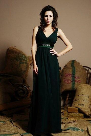 Dressesmall Belt V neck Chiffon A line Long Formal Bridesmaid Dress