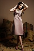 Ruching V neck Satin A line Short Formal Bridesmaid Dress