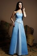 Belt Strapless Satin Blue A line Long Bridesmaid Dress